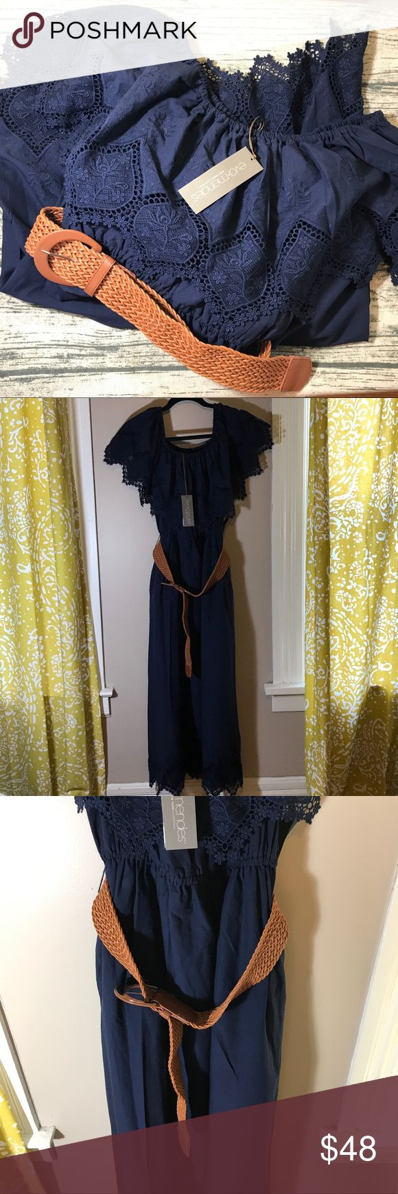 Eva Mendes Maxi Belted Dress 🦋 This is a never worn maxi/midi (depending on height) Eva Mendes Navy dress. Beautiful, comes with belt, and has great detailing on sleeves and hem. This can be worn on your shoulders or off shoulders. Tags are still on! 👍 New York & Company Dresses Maxi
