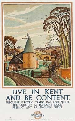 1926 railway poster encouraging people to move out to the country and to commute on the Southern Railway