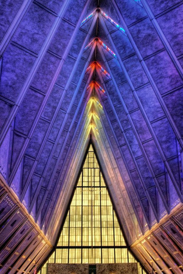 Colorful in Air Force Academy Chapel, Colorado Springs, Colorado, United States, by Len Saltiel