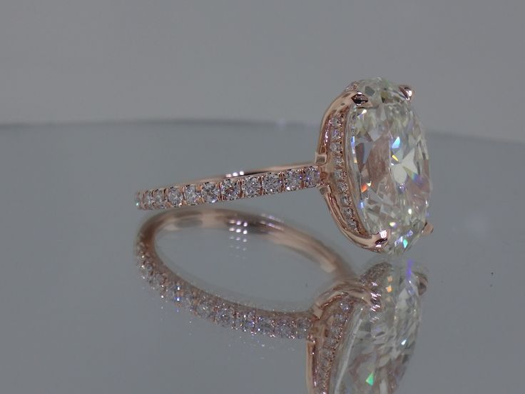 Josh Levkoff - Collection, Rings - Rose Gold Oval Custom Engagement Ring with MicroPave Diamonds