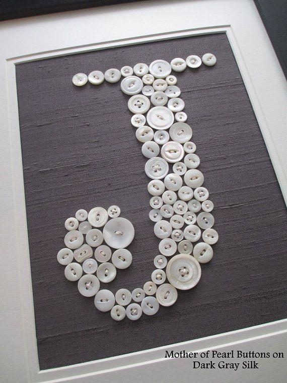 Nursery Wall Art Button Letter J on Silk by letterperfectdesigns