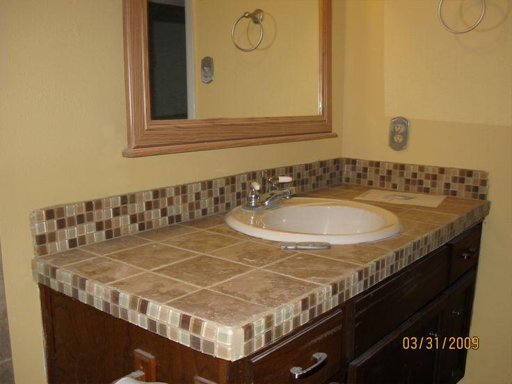 Bathroom Countertop Ideas With Tile And Backsplash.