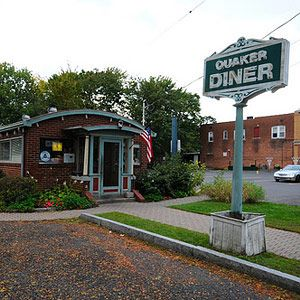 Quaker Diner — West Hartford, CT -- A few years back, a group of locals rallied to save the Quaker's famous sign when it was threatened by zoning laws for being too big. They did it because the sign represents the simple magnificence of the place — the hash and eggs, the pancakes, the toast, all peerless for miles. They were fighting for their breakfast. And they won. -- 319 Park Road; 860-232-5523