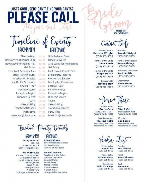 Editable Template Call Anyone But The Bride And Groom Pink Blush Navy Wedding Day Schedule Ch Weddingreadings