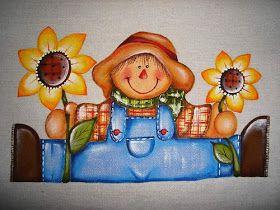 Riscos de Espantalho para pintura country em tecido ,Artesanato Country.