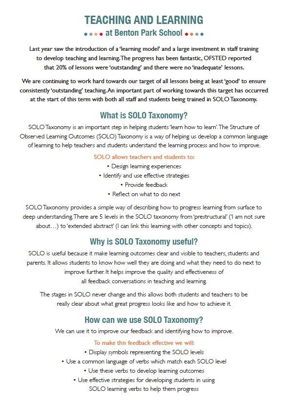 SOLO Taxonomy parent information