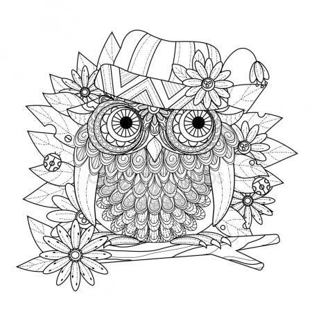 Descargar - Página para colorear de bonito búho — Ilustración de stock
