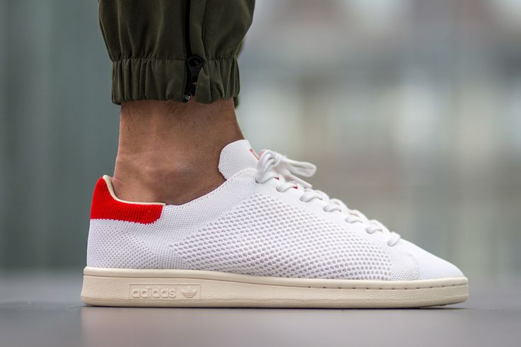 The adidas Originals Stan Smith Primeknit is rendered in a classic white/red colorway this Spring 2016. Find it at adidas stores now.