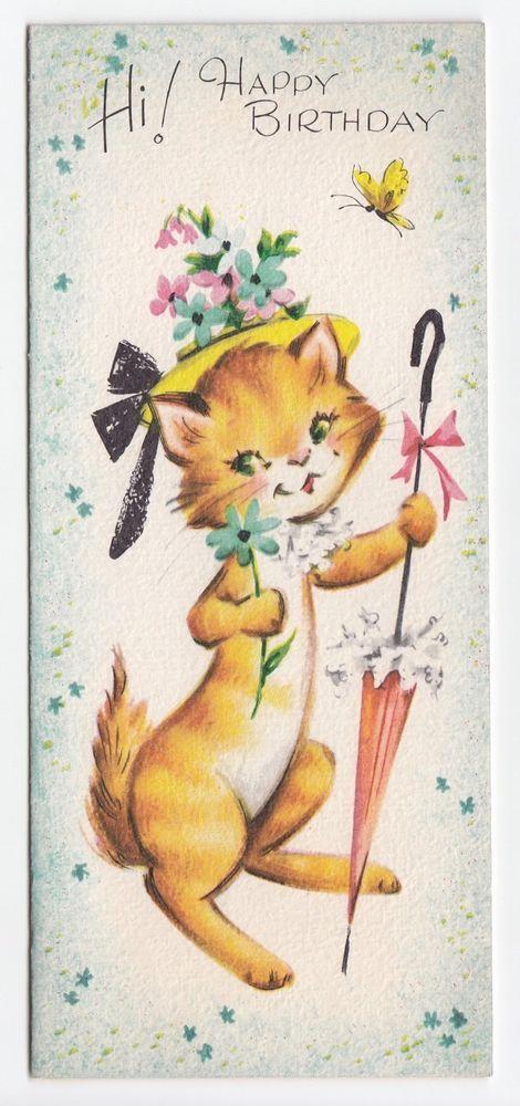 244 best vintage images on pinterest vintage cards vintage vintage greeting card cute cat wearing flower hat parasol gibson bookmarktalkfo Choice Image