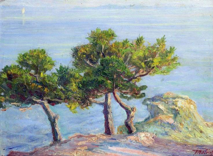 Konstantinos Maleas  Pine trees in Halki, 1908-1913