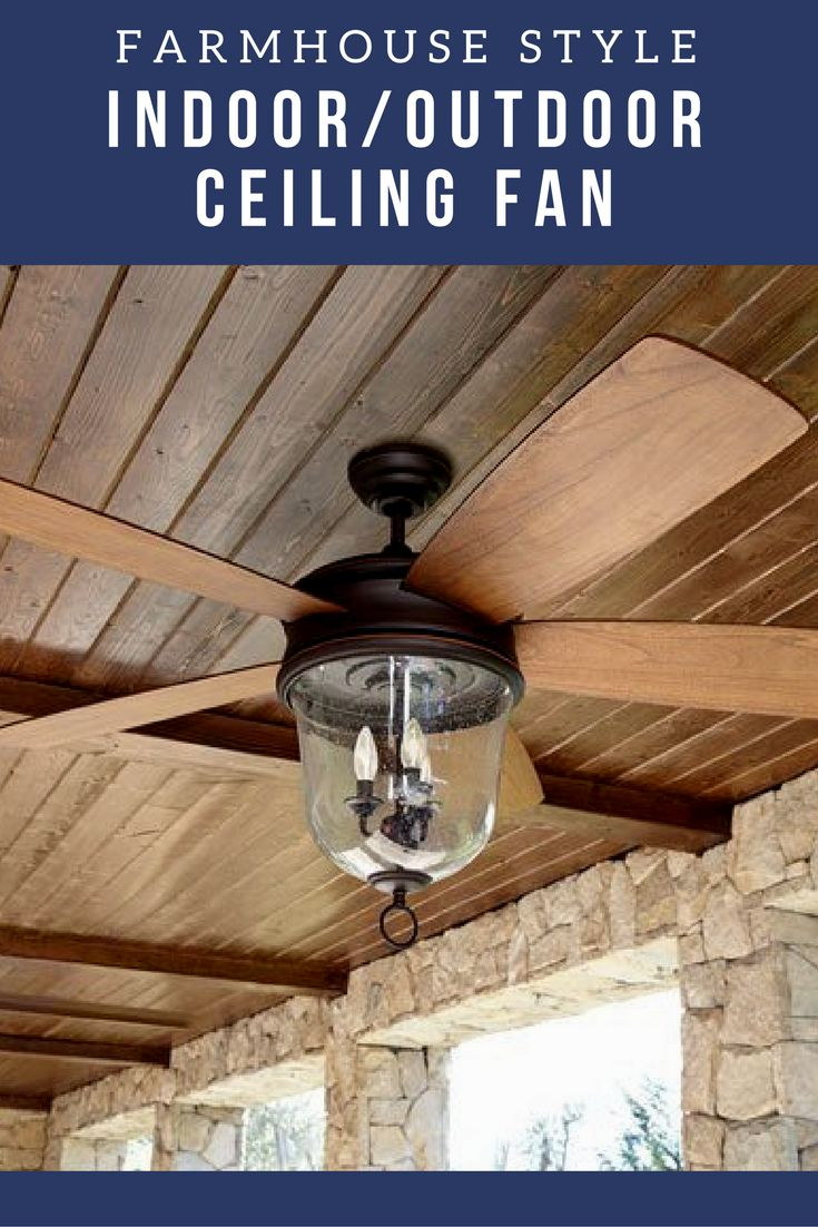 Indoor / Outdoor ceiling fan - This farmhouse style ceiling fan is perfect for the backyard patio or in a living room! - outdoor lighting - backyard - deck - patio - living room light ceiling fan - bedroom lighting - ceiling fan - farmhouse lighting - farmhouse ceiling fan - rustic decor - fixer upper look - sponsored