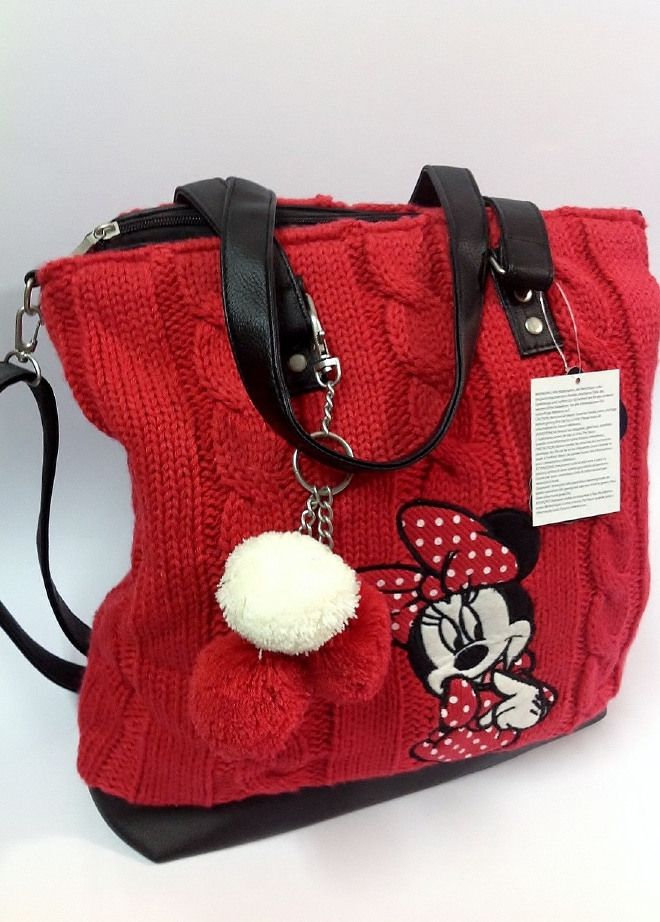Borsa Disney Minnie con tracolla in Lana Rossa