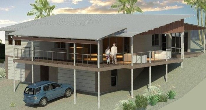 Sloping block house designs bush and beach homes for Home designs on sloped land