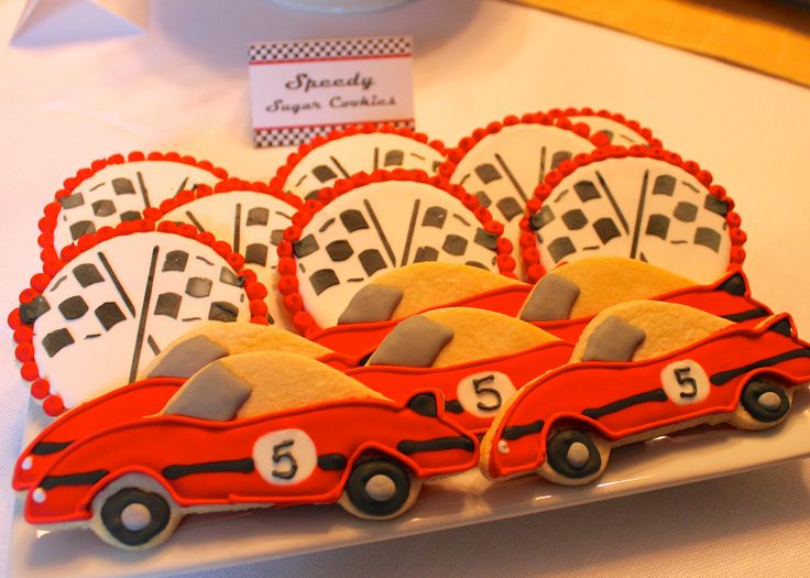 Race Car and Checkered flag cookies -- for a race car 5th birthday party!  --SomersetCakes.com