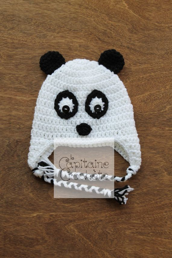 SALE 9-24 months hat panda black white by LaCapitaineCrochete