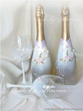 Свадебные наборы. Свадебное шампанское 1500р+сам алкоголь  Свадебные бокалы 1200р  почта для заказа mary-joe@mail.ru (Свадьбы)