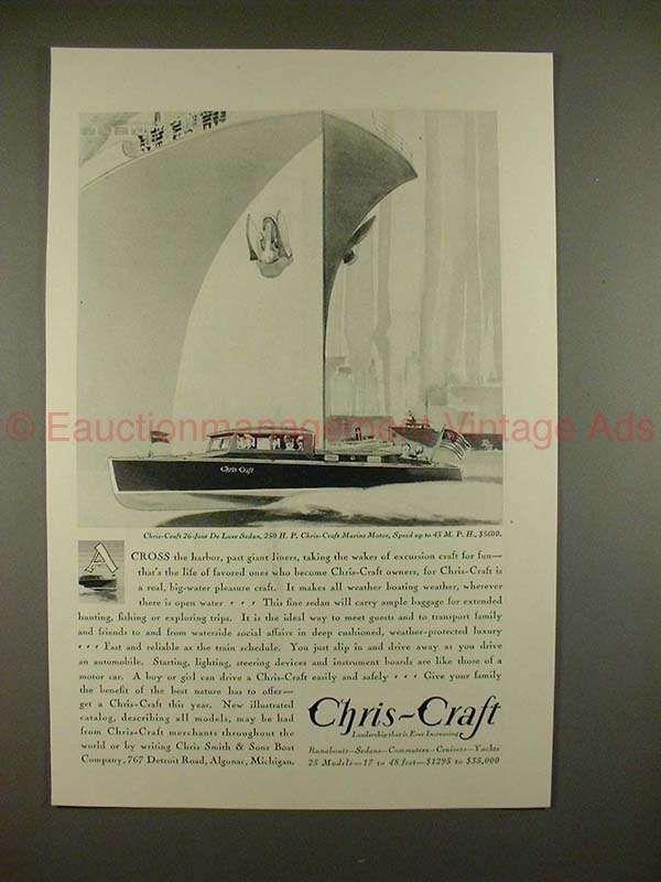 1930 Chris-Craft 26-foot DeLuxe Sedan Boat Ad - NICE!