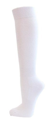 Couver Unisex Knee High Sports Athletic Baseball Softball Socks WHITE Medium ** You can get more details by clicking on the image.