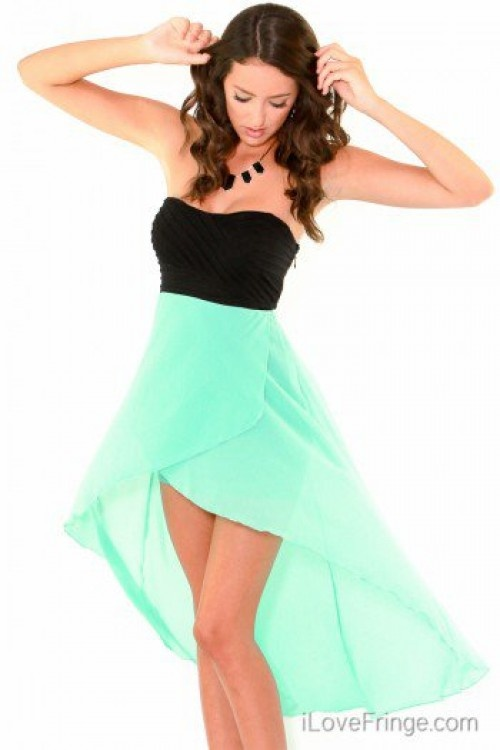 Black & Mint high low dress... Love these colors great for a beach wedding