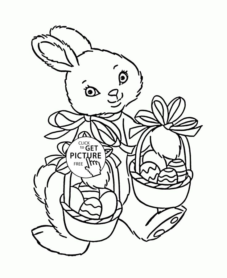 Cute Easter Bunny coloring page for kids, holidays