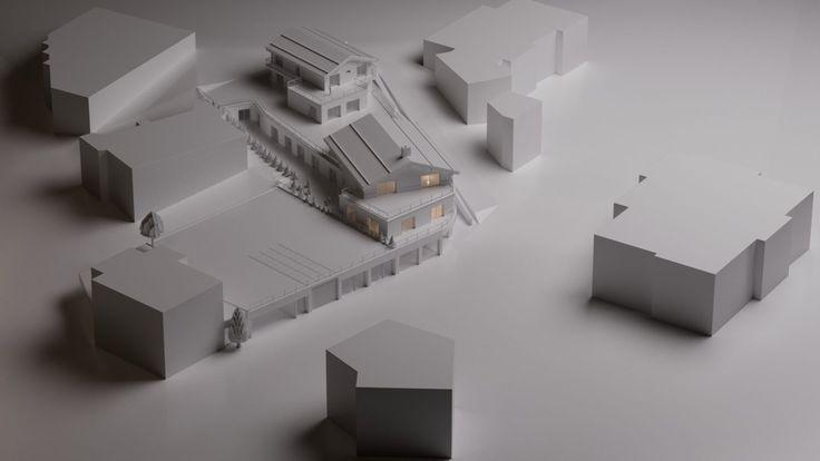 Transformation Centre Commercial Architecture Verbier Ski Alps 3D Printing Architecture 3D White Model Render #architecture #projet #centrecommercial #maquette #noiretblanc