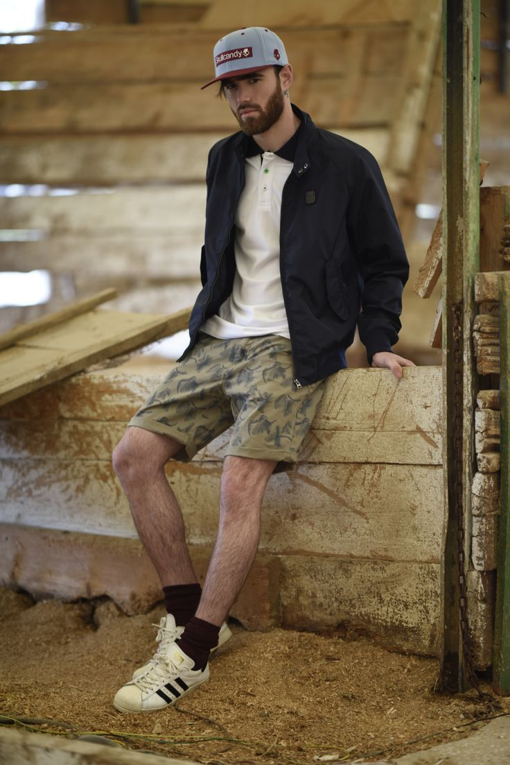 Splendid SS 2018 collection men's jacket and cotton printed bermuda shorts.