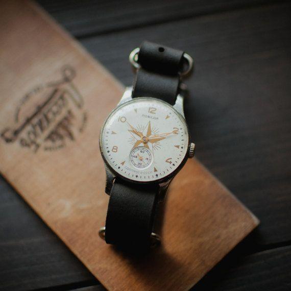 Old soviet Pobeda Star watch rare ussr, white wrist watches 1960 release, mechanical soviet watch, new leather strap NATO