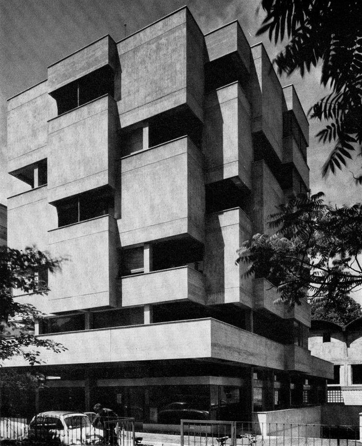 Mixed Use Building, Cassarate-Tessin, Switzerland, designed by P. Brivio, 1960s