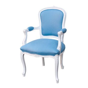 French provincial Louis XV shieldback finished with azure blue fabric and antique white paint - reminiscent of the sky, creates a relaxing look - French provincial style in Sydney, Australia