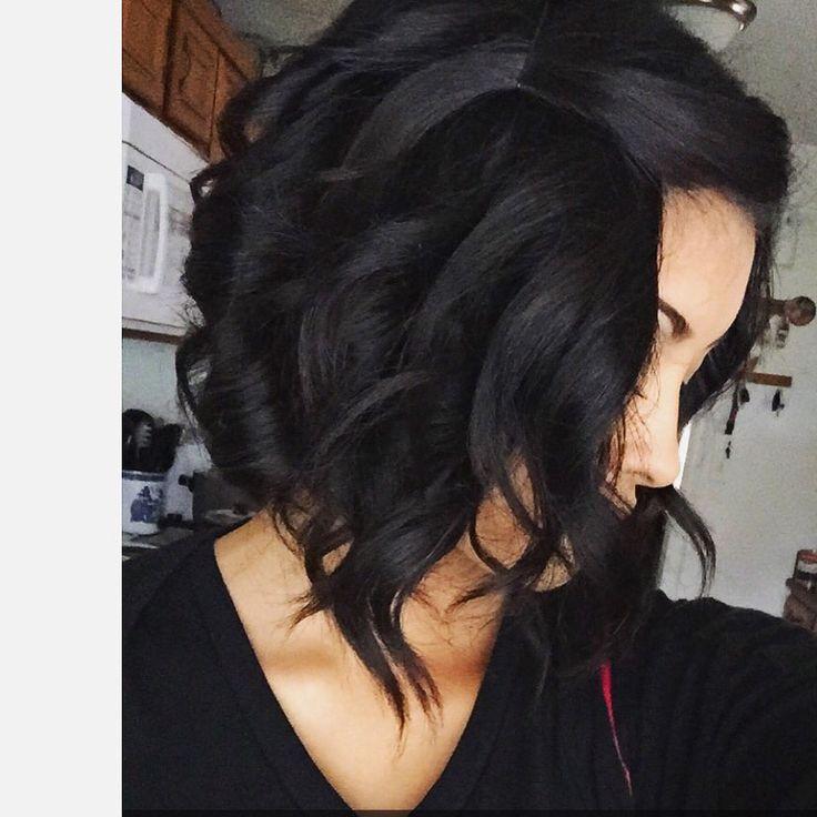 Black hair, curled A Line ❤️