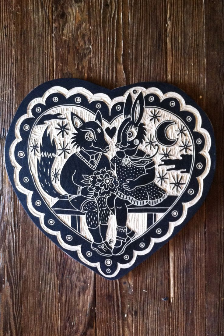 Valentine wood cut by Bryn Perrott  http://deerjerk.tumblr.com/archive