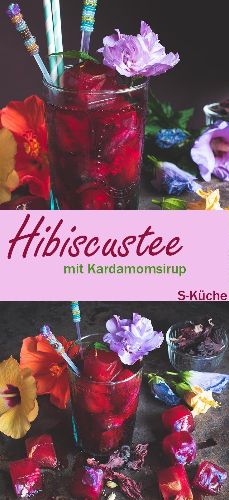 Rezept für Hibiskustee mit Kardamomsirup und Hibiskusblüten-Eiswürfeln