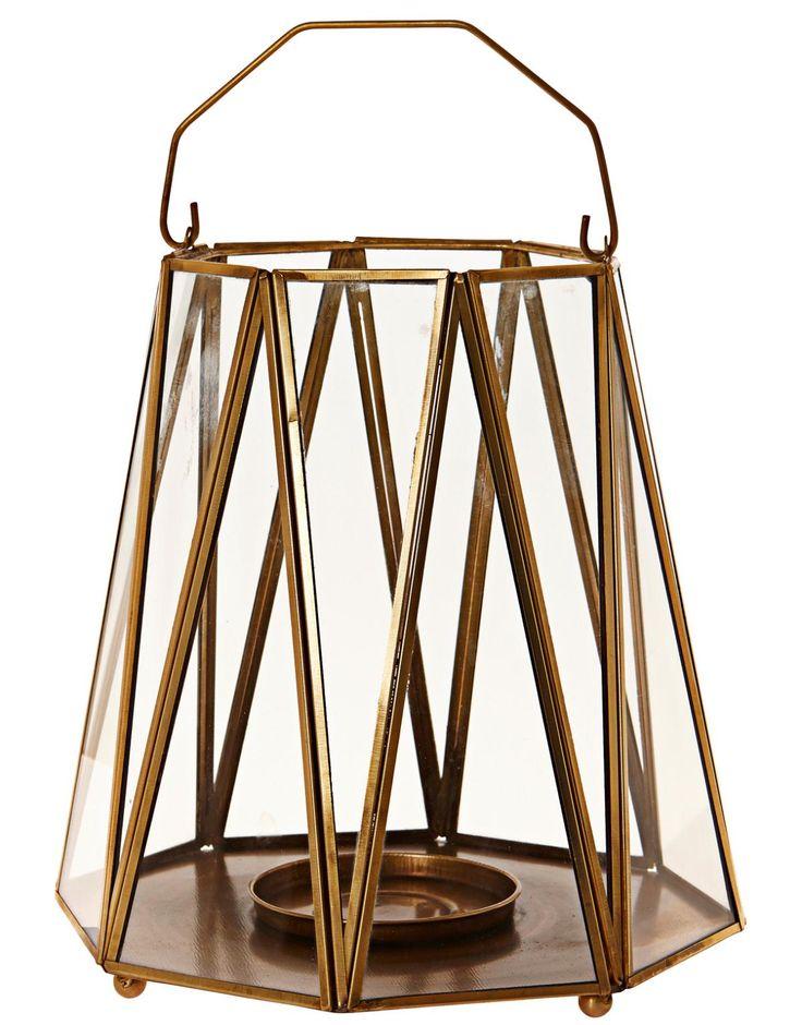 Indiska Pillar Circus lantern in iron and glass 20*21 34.90€