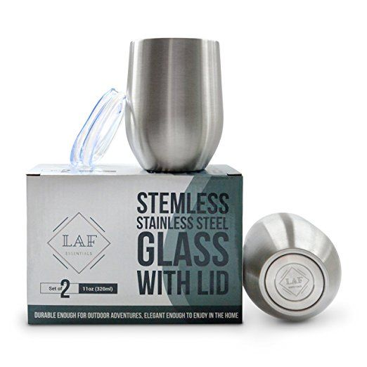 Stainless Steel Stemless Glasses | Tumbler | 11oz | Shatterproof | Double Insulated | 2 Pack With Lids | Wine Glasses | Coffee Mugs | Travel Mug | At Home | Copas De Vino | El vaso