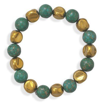 Sterling Silver Created Turquoise and Gold Glass Bead Bracelet - JewelryWeb JewelryWeb. $27.30. Save 50% Off!