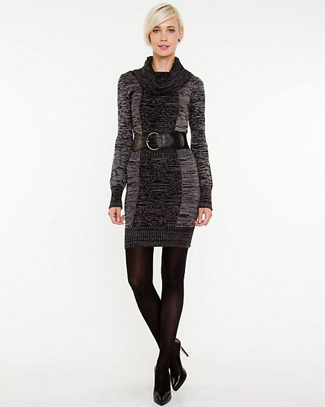 Wool Blend Cowl Neck Belted Tunic