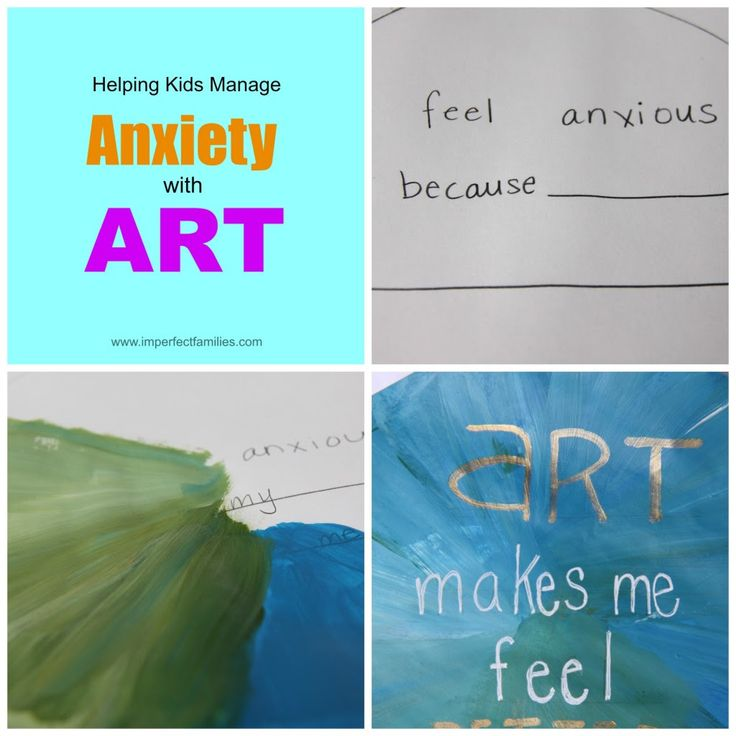 "Helping Kids Manage Anxiety with Art < Get out a sheet of paper... In the middle, write: ""I feel anxious/angry/sad because""... Ask your child to paint over... circle... Explore... what he thinks might help... positive word or phrase. Write it in the middle..."""