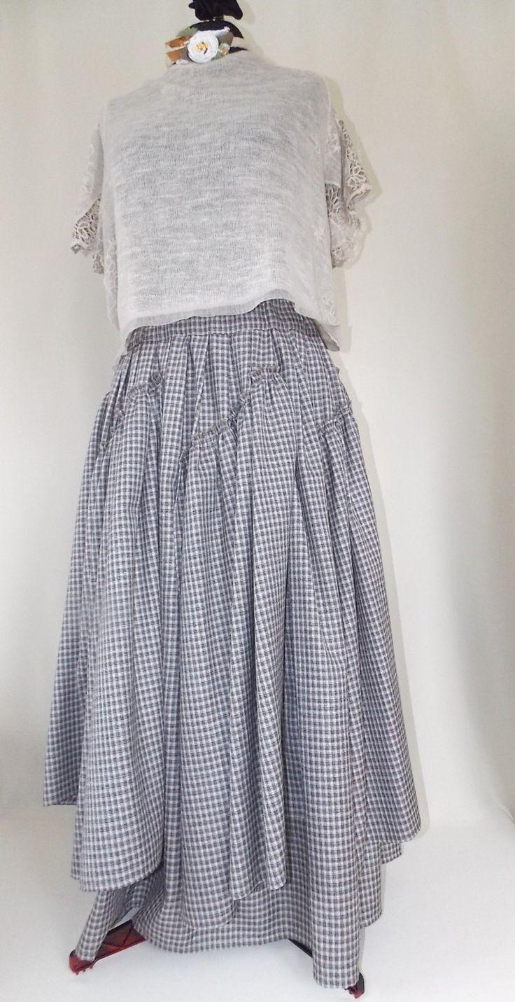 Maxi skirt. Pleated Skirt. Gray plaid. Boho skirt. by BohoEklektika on Etsy