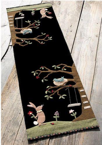 Easter themed wool applique table runner.