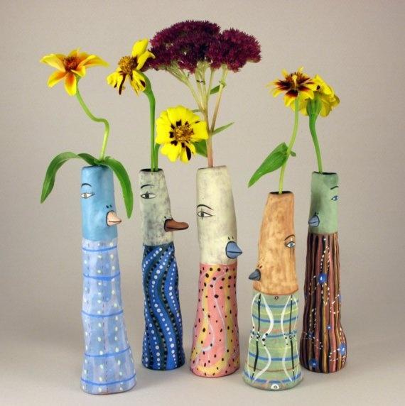 Fun and happy! Jenny Mendes ceramics Etsy - bird vases