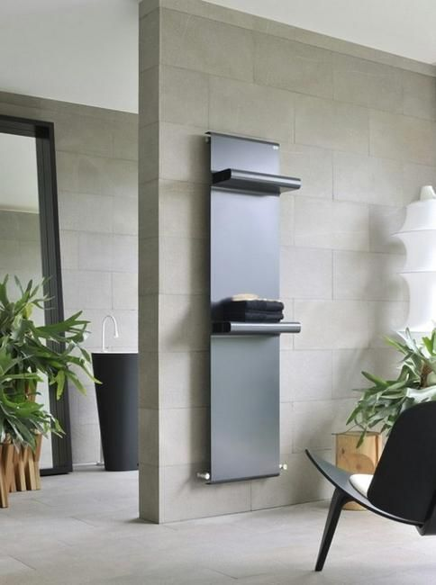 Contemporary room heater with shelves