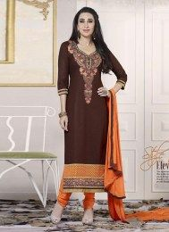 Brown Color Unstitched Pure Cotton Fabric Straight Suit With Floral Embroidery Work