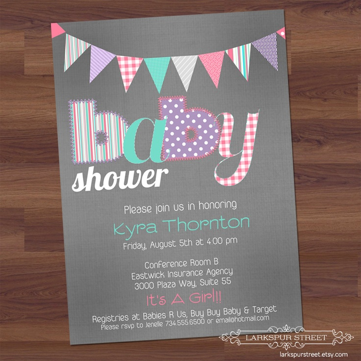 unique homemade baby shower invitation ideas%0A Items similar to Baby Girl Shower Invitation  Patchwork Stitch  Baby  Announcement Vintage Pennants  pink  teal  purple  grey  digital diy  printable  on