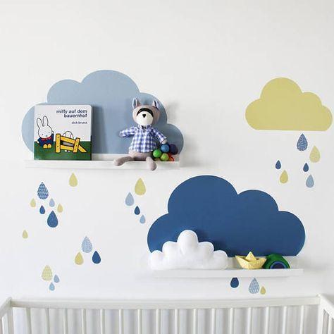 Wandtattoo Wolken für IKEA RIBBA / MOSSLANDA Regale Farbe