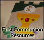 All kinds of resources (arts, crafts, lessons, banners, food, gifts, etc.) for First Communion. #Catholic