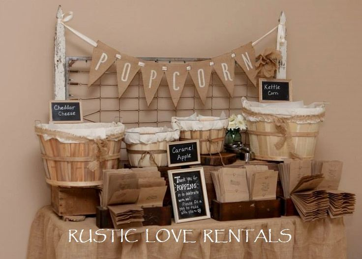 The SPRINGS display set up for a popcorn bar, available for RENT from Rustic Love Rentals.