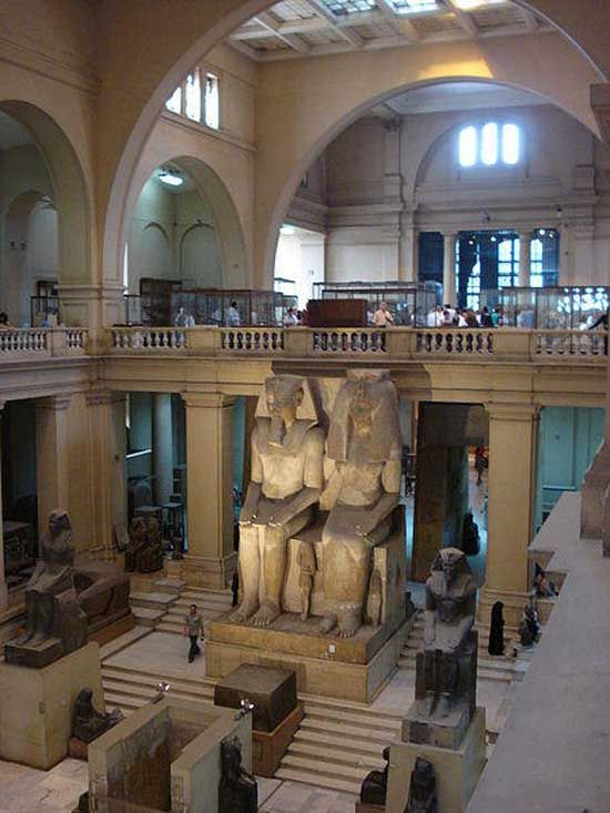 egyptian museum in cairo.  totally got away with touching things that were off limits here...those security guards were none the wiser...