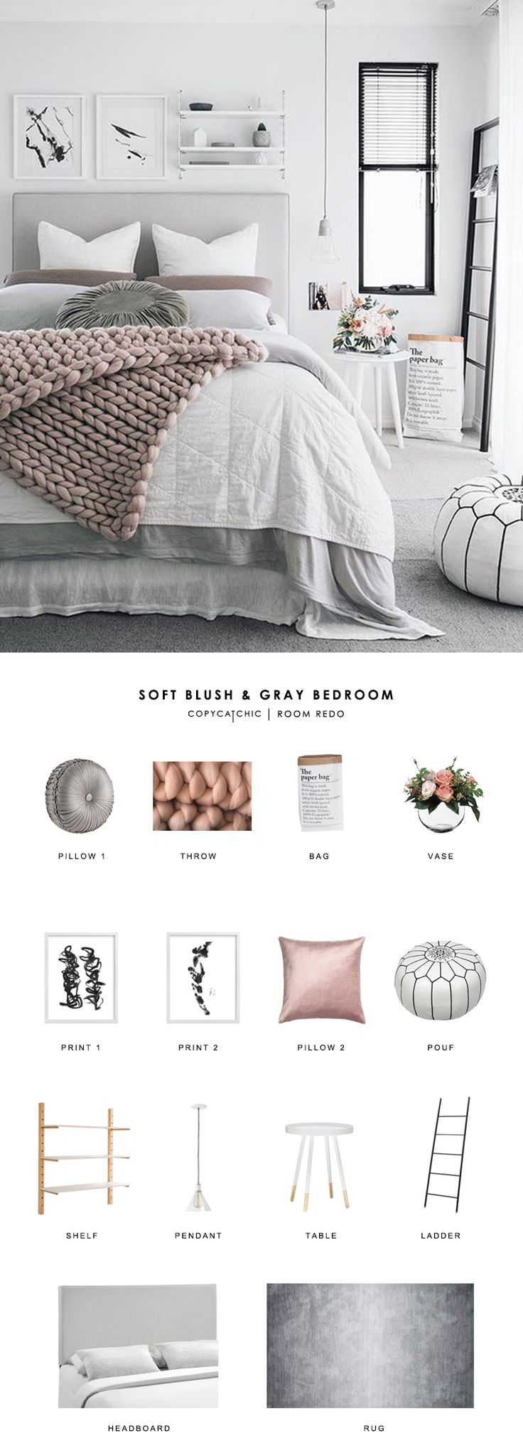 This soft, Scandinavian blush and gray bedroom by Oh Eight Oh Nine gets recreated for less by Copy Cat Chic luxe living for less room redo budget home decor www.copycatchic.c...