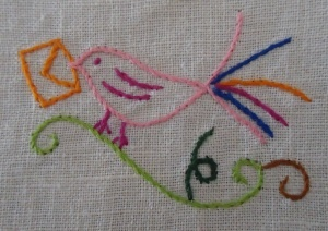 Beautiful bird. Portuguese embroidery design.