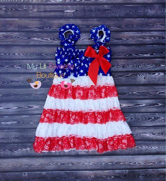 Patriotic dress, 4th of July dress, Lace dress, baby girl outfit, infant dress, toddler dress, girls dress,. $25.95, via Etsy.